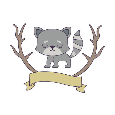 cute cat animal with ribbon and branches vector illustration design