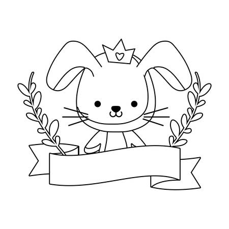 cute rabbit animal with ribbon and branches of leafs vector illustration design