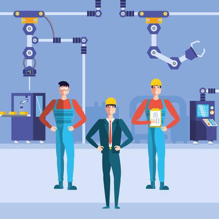 industrial workers in technified factory vector illustration design Ilustração