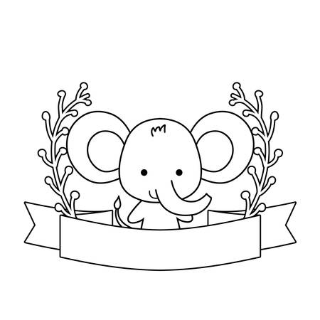 cute elephant animal with ribbon and branches of leafs vector illustration design Stock Illustratie