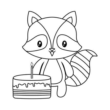 cute raccoon animal with cake of birthday vector illustration design