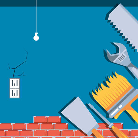 interior of house under construction with tools vector illustration design Banco de Imagens - 129532331