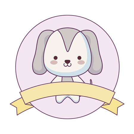 cute dog animal with ribbon in frame vector illustration design