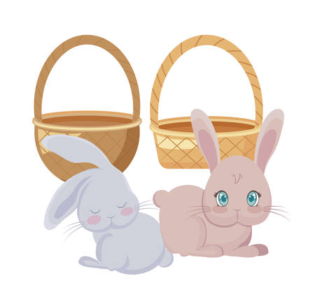 cute rabbits in baskets wicker vector illustration design  イラスト・ベクター素材