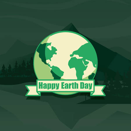 world happy earth day landscape background vector illustration