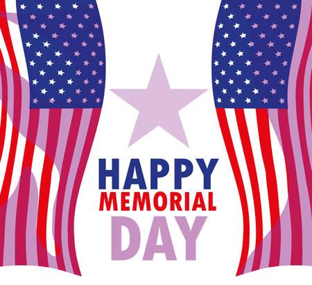happy memorial day card with flag usa vector illustration design Illusztráció