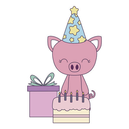 cute piggy with cake of birthday and gift box vector illustration design