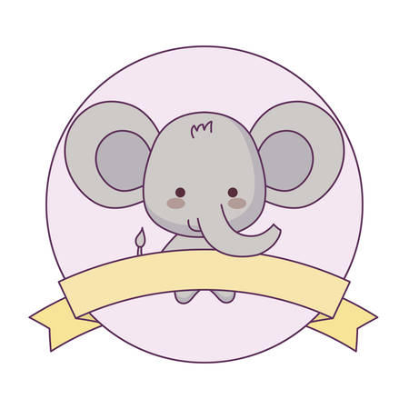 cute elephant animal with ribbon in frame vector illustration design