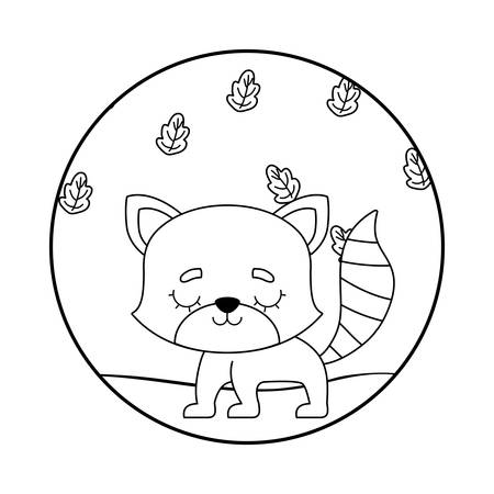 cute raccoon with leafs nature vector illustration design