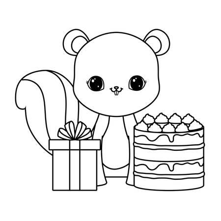 cute chipmunk with cake of birthday and gift box vector illustration design Illusztráció