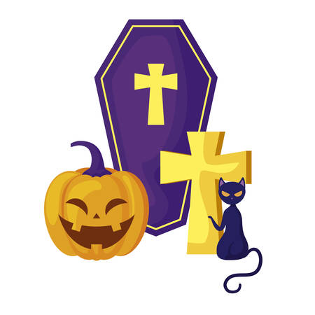 pumpkin with coffin and icons halloween vector illustration design Stock Illustratie