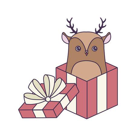 cute reindeer animal in gift box vector illustration design