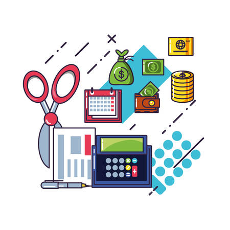 financial calculator with document and set icons vector illustration design