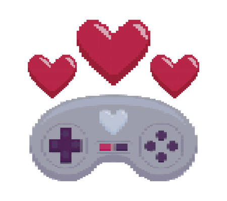 video game control with heart pixelate vector illustration design Zdjęcie Seryjne - 129529246