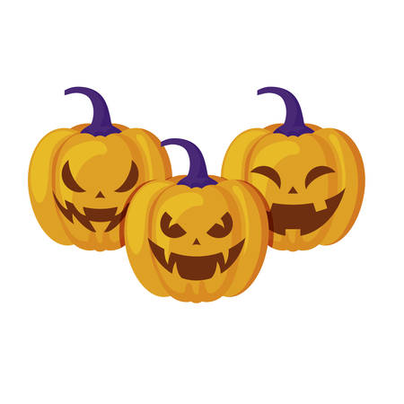 halloween pumpkins traditional isolated icon vector illustration design Stockfoto - 129529135