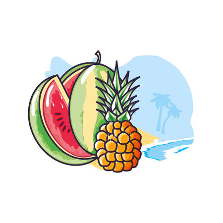 fresh pineapple fruit in the beach with watermelon vector illustration design