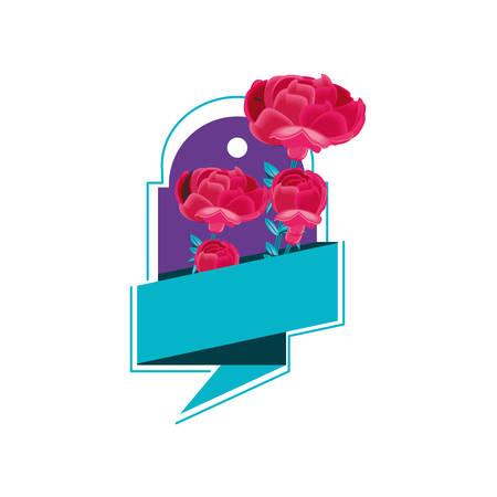 beautiful flowers with speech bubble vector illustration design Çizim