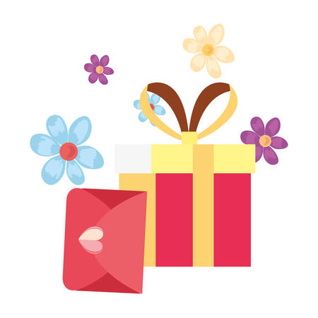 gift box surprise mail white background vector illustration Archivio Fotografico - 129536578