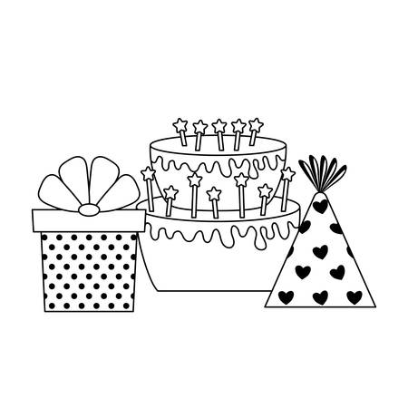 sweet cake with gift box and hat party vector illustration design Stock Illustratie