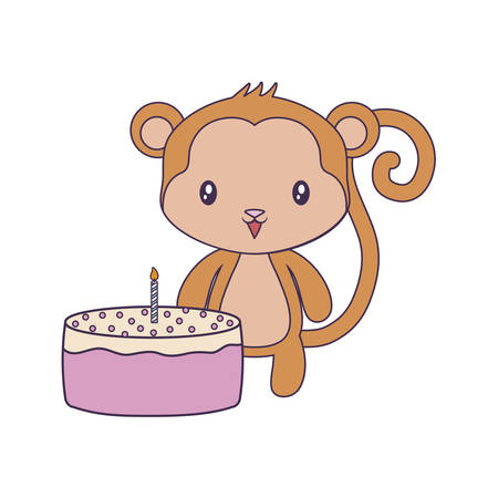 cute monkey animal with cake of birthday vector illustration design