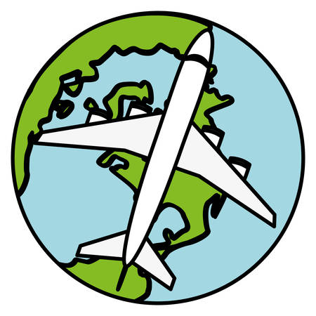 world planet earth with airplane vector illustration design