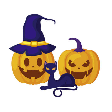 pumpkins with cat and icons halloween vector illustration design Stock Illustratie