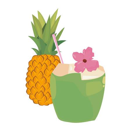 summer time holiday cocktail coconut pineapple flower vector illustration Çizim
