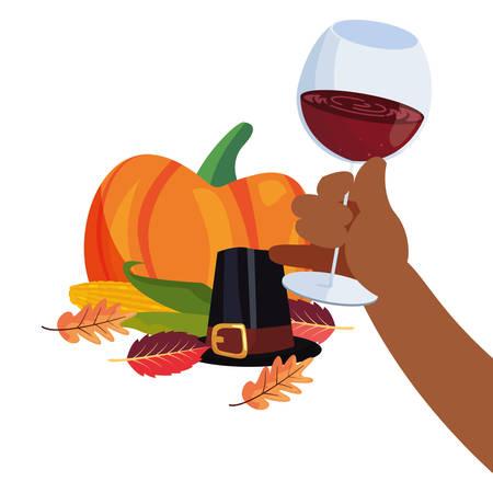 thanksgiving celebrate hat leaves pumpkin vector illustration Illustration