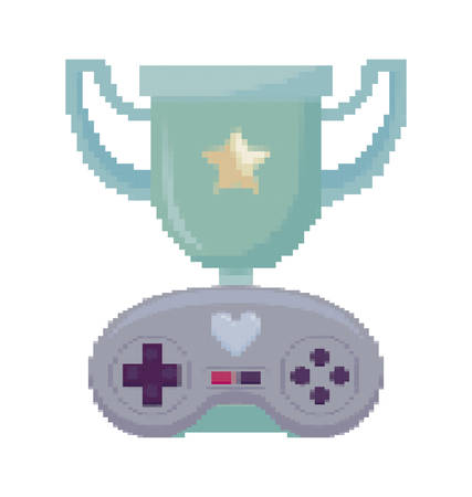 video game control and trophy pixelate icon vector illustration design