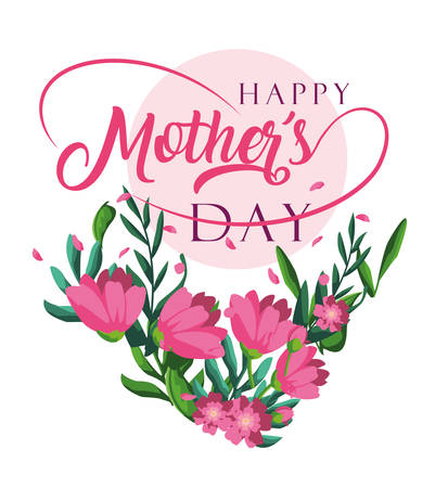 happy mother day card with flowers decoration vector illustration design Çizim