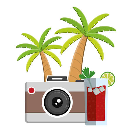 trees palms beach scene with cocktail and camera vector illustration design Фото со стока - 129576264