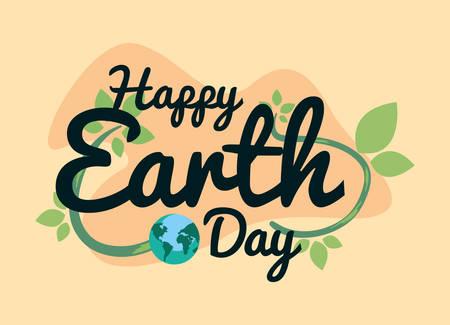 happy earth day inscription world leaves vector illustration Stock Illustratie