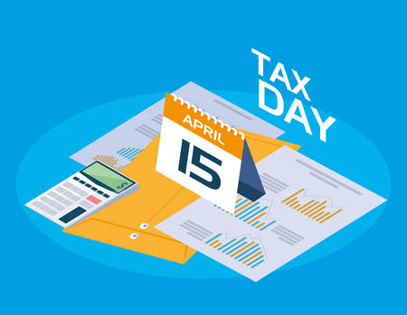 tax day with calendar and statistics graphic vector illustration design