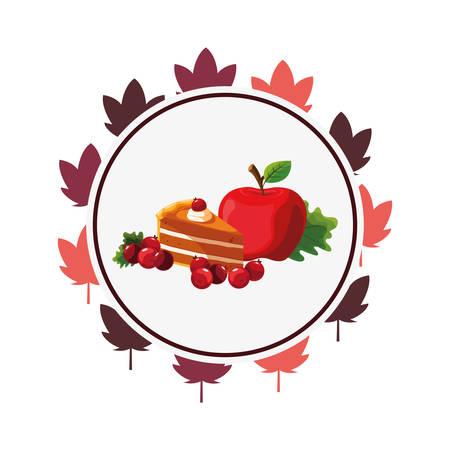thanksgiving celebrate apple cake cherries sticker vector illustration