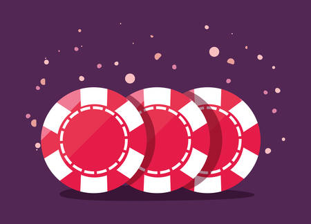 chips collection casino game bets vector illustration