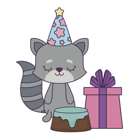 cute raccoon with cake of birthday and gift box vector illustration design