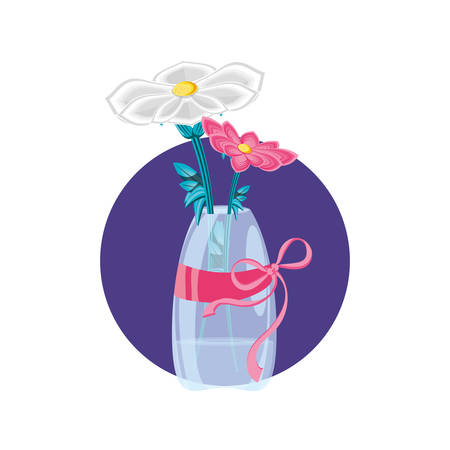 beautiful flower with branch in vase vector illustration design