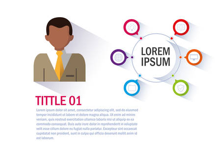 businessman with infographic and business icons vector illustration design