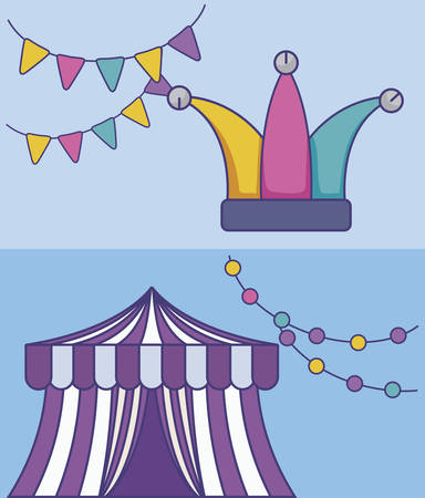 circus tent with hat joker and garlands vector illustration design
