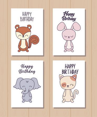 set of happy birthday cards with cute animals vector illustration design Stock Illustratie
