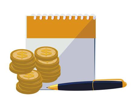 calendar reminder with coins and pen vector illustration design