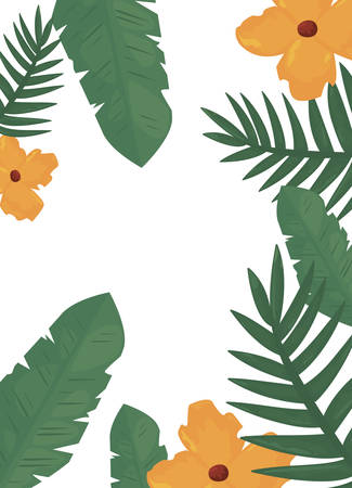 summer time holiday frame border tropical flower leaves vector illustration