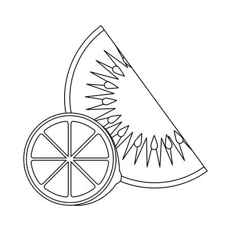 fresh slice of kiwi and orange fruits healthy vector illustration design