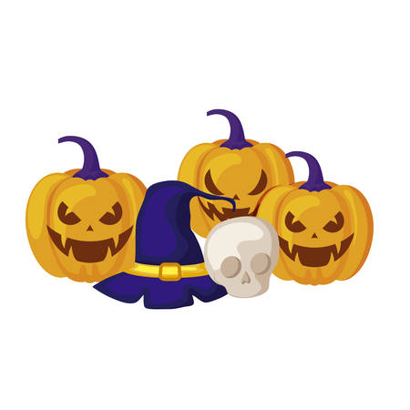 pumpkins with hat witch and icons halloween vector illustration design Stockfoto - 129576984