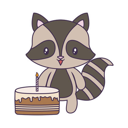 cute raccoon animal with cake of birthday vector illustration design