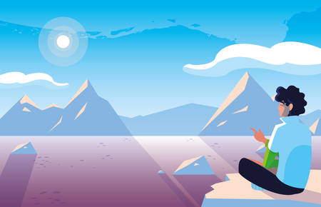 man seated observing snowscape nature vector illustration design