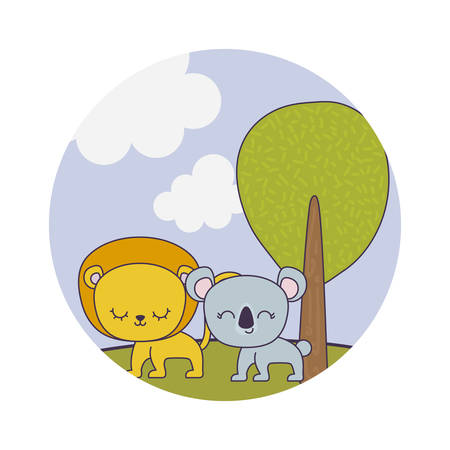 cute lion with koala in landscape vector illustration design