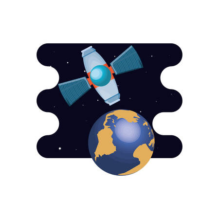 earth planet with satellite scene space vector illustration design