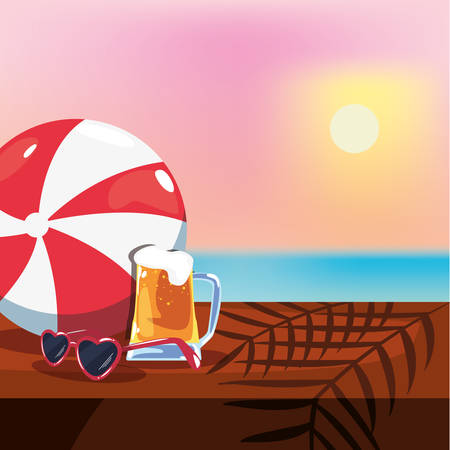 summer time holiday beer sunglasses ball on table sun background vector illustration