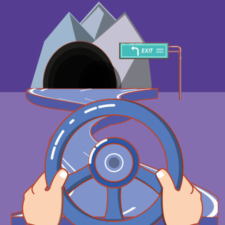 tunnel and hands on steering wheel over purple background, colorful design. vector illustration Çizim